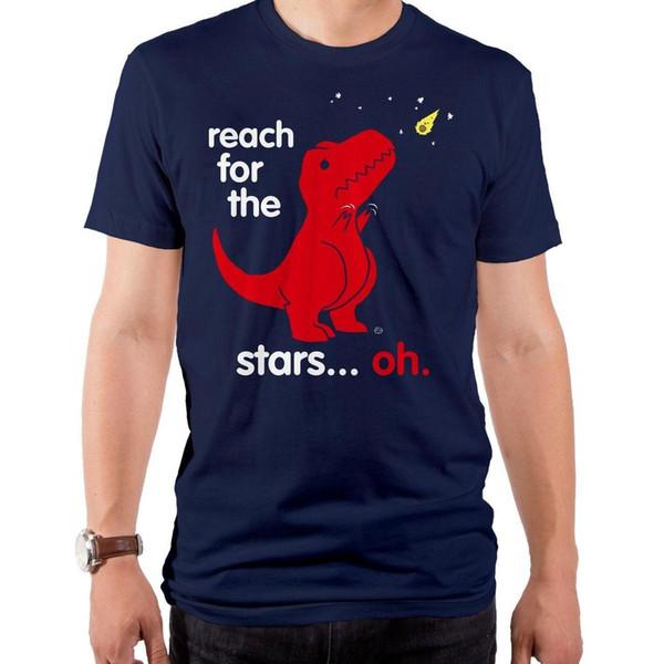 T. Rex Dinozor kısa arms Yıldızlar Ulaşmak Oh meteorit T-shirt Sml XL 2XL Mens 2018 moda Marka T Gömlek O-Boyun% 100% pamuklu Tişört