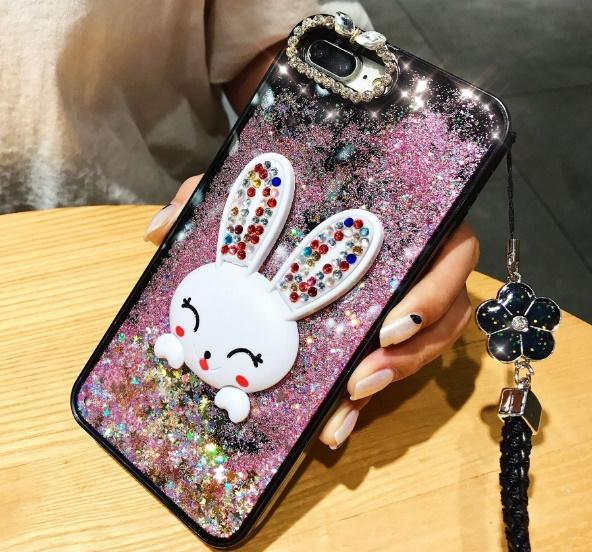 For iPhone X 8 7 6 6S Bling Luxury Designer Rabbit Holder Full Protective Quicksand Cell Phone Case with lanyard