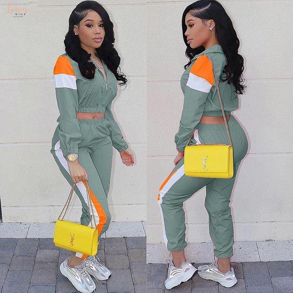 2019 femmes colorées Fermeture eclaire Vestes Pantalons Crayon Costumes Patchwork sport Deux pièces Survêtement tenue décontractée 3 Couleur Ld8274
