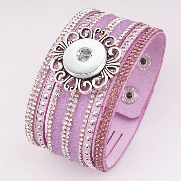 New Fashion crystal Korean velvet 18mm snap button jewelry bracelet GJ581 BOBOSGIRL New Fashion