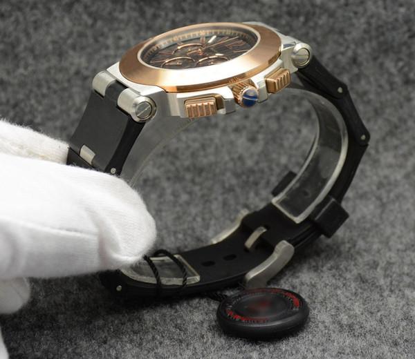 Sıcak Satış Mens Watch Otomatik Mekanik Kraliyet Meşe Gül Altın Paslanmaz Çelik Siyah Kadran Erkekler Saatler Erkek Kol Saati