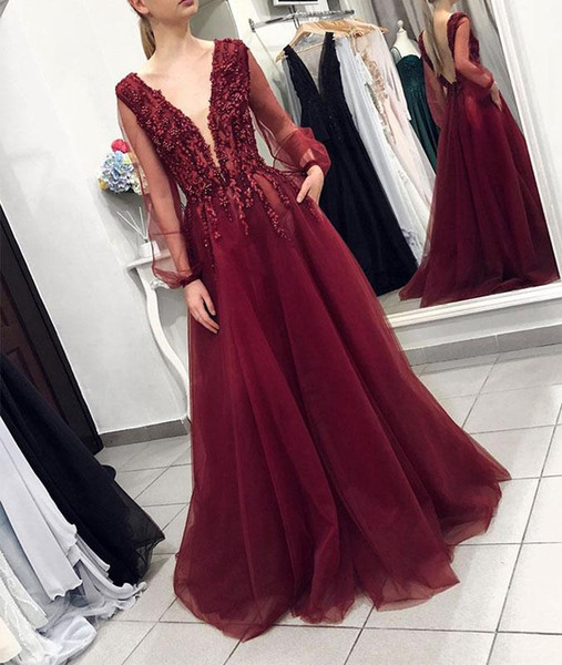 Dark Red Prom Dresses Long Sleeve A Line Deep V Neck Beaded Lace Evening Gowns robes de soiree Cocktail Party Formal Dress