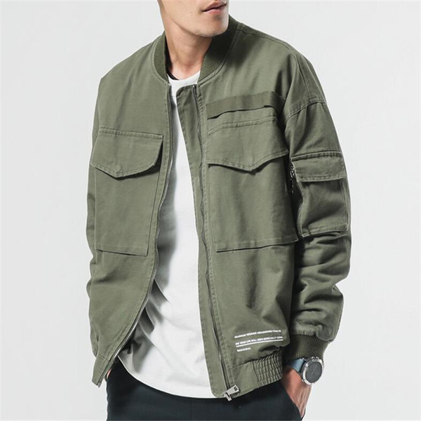 Nice Pop Spring Men VogueJacket Coat Men Washed Pure Cotton Brand-Clothing Army Green Bomber Jackets Male Cargo Coats
