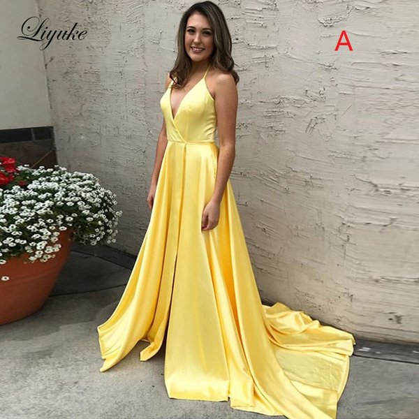 Halter Yellow Satin Prom Dresses Elegant Spaghetti Strap Lace Up A Line Court Train 2019 Formal Evening Party Gowns Custom Made Liyuke