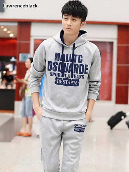 men warm hooded tracksuit 2018 New Letter Printing 2 Piece Sets Sweat Suit Hooded Male Brand-Clothing Casual Track Suit 1646