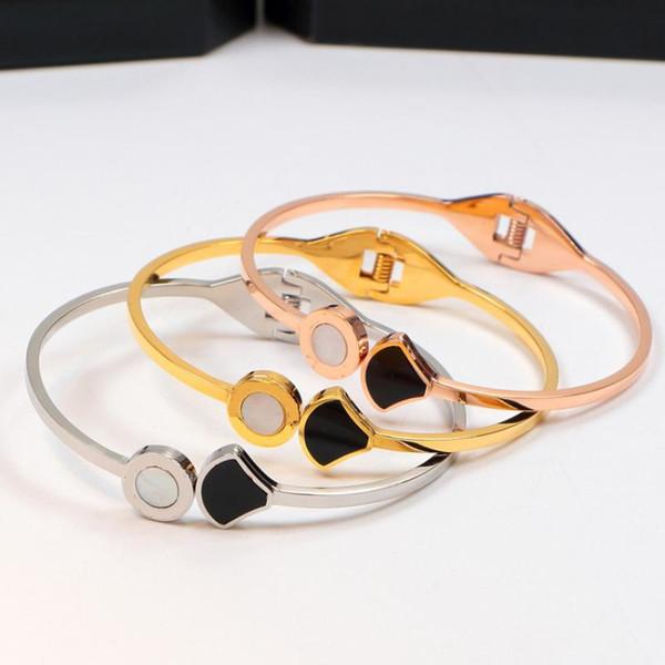 Fashion Titanium Steel Bracelets with Black White Sea shell Rose Gold Silver Bangles Women Men Bracelet with original box set