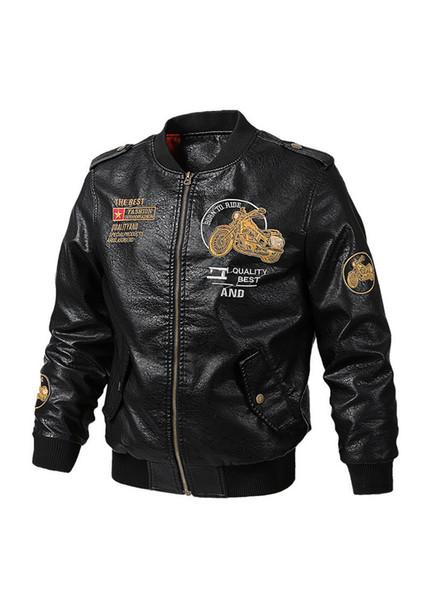 Erkek Tasarımcı Deri Ile PU Deri Lokomotif Nakış Fermuar Fly Erkek Ceket Handpainted Homme Rahat Giysiler