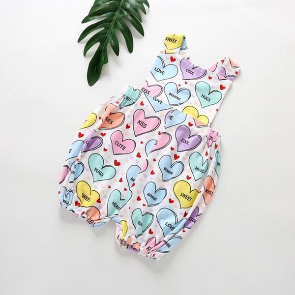 Infant Baby Love Heart Stampa Pagliaccetti senza maniche Ragazze Sling Bambini Tuta da ragazza Pagliaccetto Carino vestiti estivi per i regali per bambini