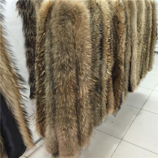 Aşağı Coat DIY Şerit / kapüşonlu 2018 Gerçek Kürk Yaka% 100 Orijinal Rakun Kürk Eşarp Trim Hood R19 için Brim Şeritleri