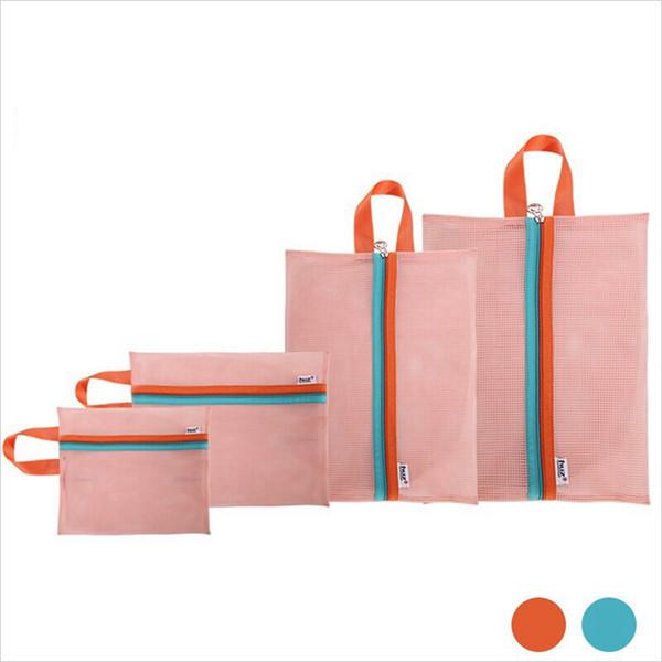 Mesh Storage Bags 4PCS/Set Organizer Shoes Clothes Travel Luggage Packing Mesh Pouch Organizer Shoe Travelling Cosmetics Zipper Bag VVA100