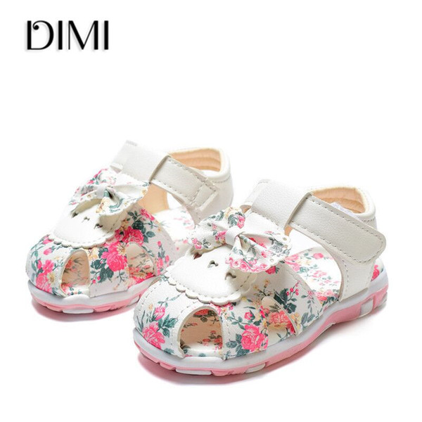 2019 New Summer Children Shoes Toddler Little Girls Sandals Leather Princess Flower Shoes Soft Baby Kids Sandals For Girls 15-25 J190508