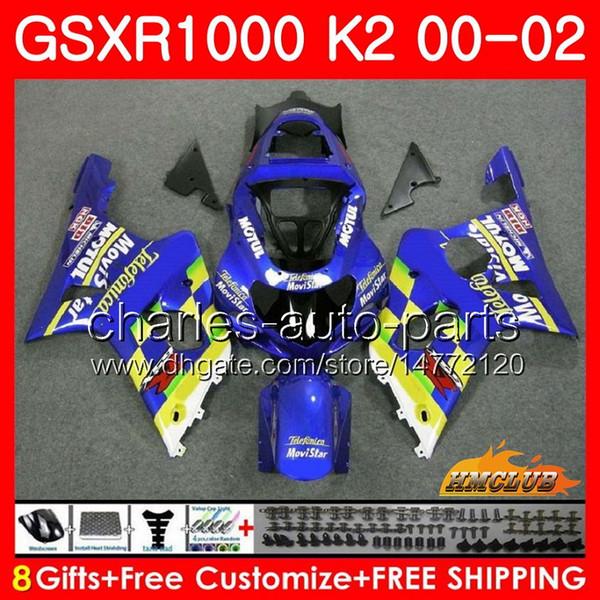 Frame For SUZUKI GSX-R1000 GSXR1000 K2 GSX R1000 00 02 Bodys kit 14HC.21 Movistar Blue GSXR-1000 GSXR 1000 00 01 02 2000 2001 2002 Fairing