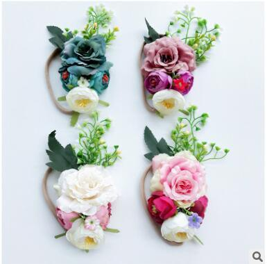 Bohemia flowers headbands childrens shooting props party birthday gifts 4 colors can choose pink green beige 606