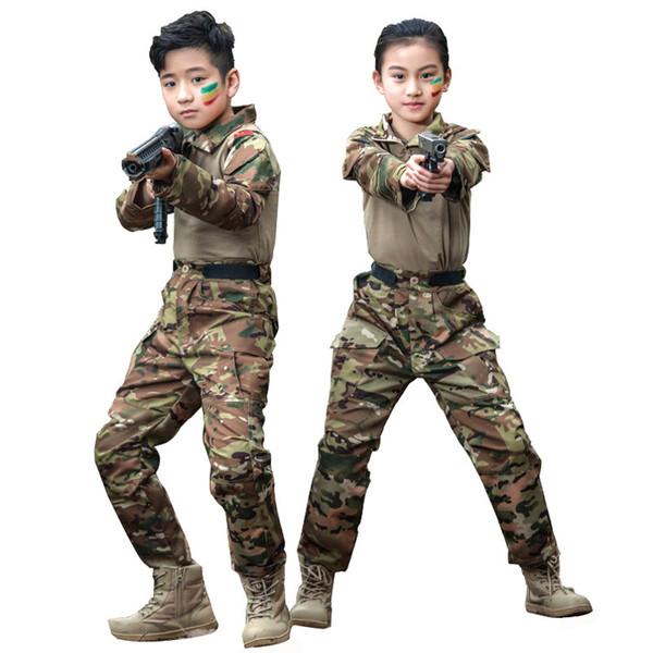 Crianças Ternos Do Esporte Ao Ar Livre Crianças Uniforme Caminhadas Caça Equipamentos de Camuflagem Meninos Meninas Conjuntos Táticos Do Exército