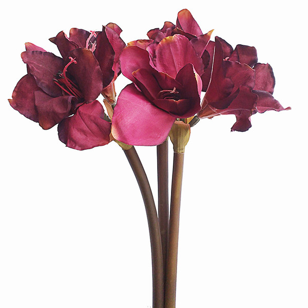 29.5''Tall Stem Flowers Large Stem Decoration Flowers of Amaryllis in dark red Autumn color for Christmas Decorations silk flower elegant