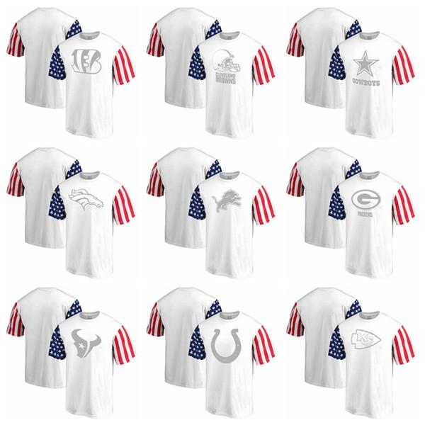 Nouveau 2019 Top Qualité Hommes T Chemises Bengals Browns Cowboys Broncos Lions Packers Blanc Étoiles Rayures T-Shirt vêtements