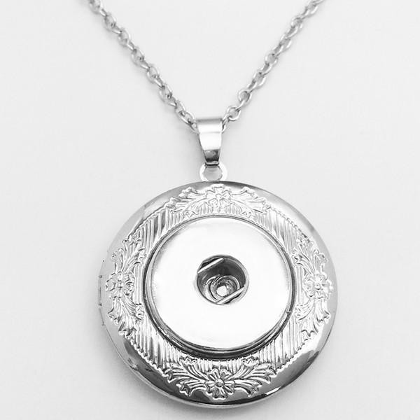 Bijoux de mode Pendentifs Nouveau cadre photo en cuivre Médaillons Pendentifs bouton-pression Collier (ajustement 18mm 20mm