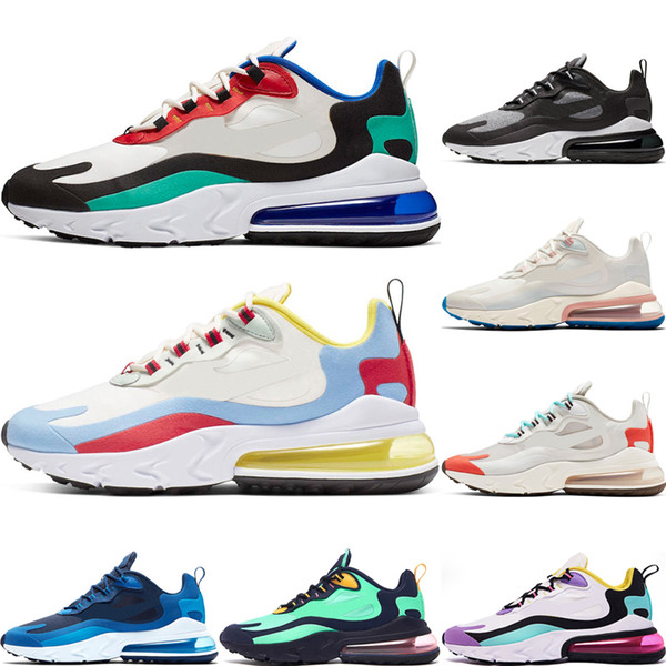 Acheter Nike Air Max 270 React 2019 Mode React Hommes Chaussures De Course Top Qualité Triple Noir Blanc Gris Hommes Baskets Respirant Sport En Plein