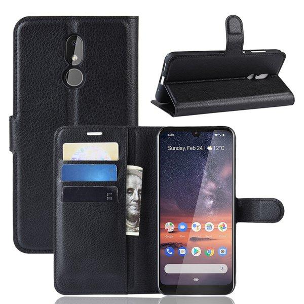 Новое поступление личи шаблон флип магнитный PU кожаный бумажник чехол для Nokia 3.2 личи зерно крышка
