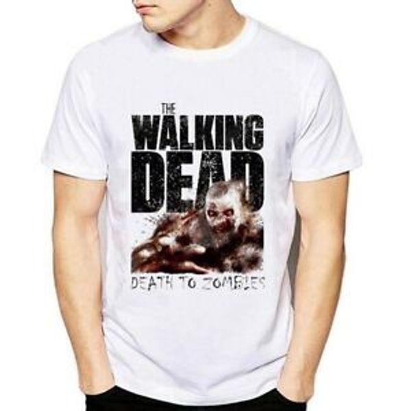 Новая мода Летние футболки Мужчины Мальчик ходячие мертвецы O-NeO-Шея Короткие-O-NeO-Шеи-NeO-Шейные