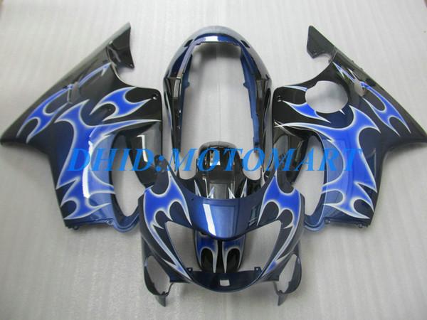 Juego de carenado personalizado de inyección para HONDA CBR600F4 99 00 CBR600 F4 1999 2000 CBR 600 F4 600F4 CBR600 azul negro Carenados del cuerpo kit HP51