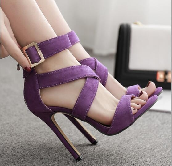 2019 Europe and the United States sexy suede cross with Rome fine high heel sandals open toe hollow women's shoes