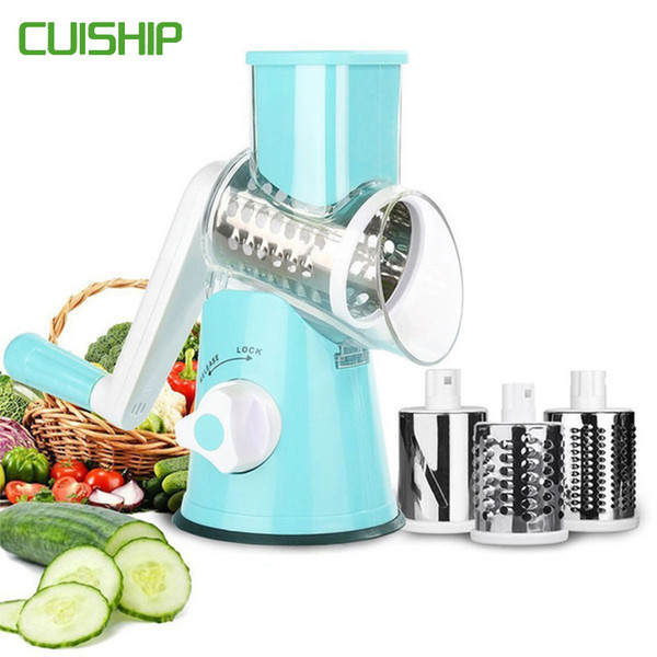 CUISHIP Vegetable Cutter Round Mandoline Slicer Potato Carrot Grater Slicer with 3 Stainless Steel Chopper Blades Kitchen Tool