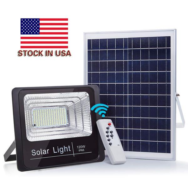 Holofote IP67 solar 120 W 100 W 40 W 25 W 80-90LM / W Painel de célula de energia da bateria Ao ar livre impermeável lâmpadas industriais luzes controle remoto