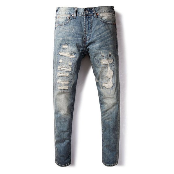 2019 New trend Hole Men's jeans Nostalgic washed Micro-Elastic Slim Small Straight Embroidery patch Men's trousers Size 29-38