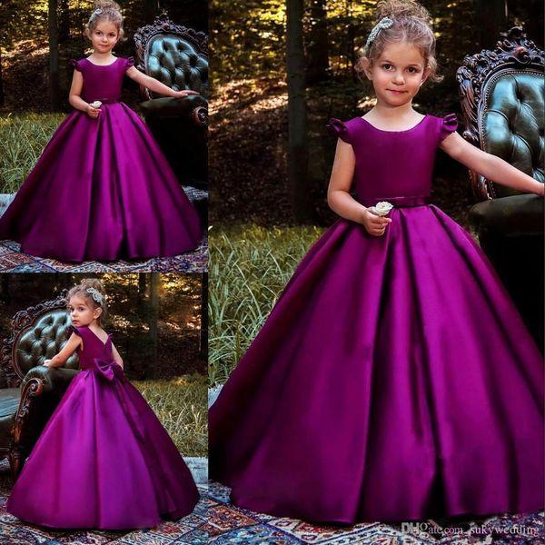 Vintage Çiçek Kız Elbise Derin Mor İlk Communion Elbise A-Line Saten Toddler Pageant Elbise Kat Uzunluk Yay Kızlar Doğum Günü Partisi Elbise