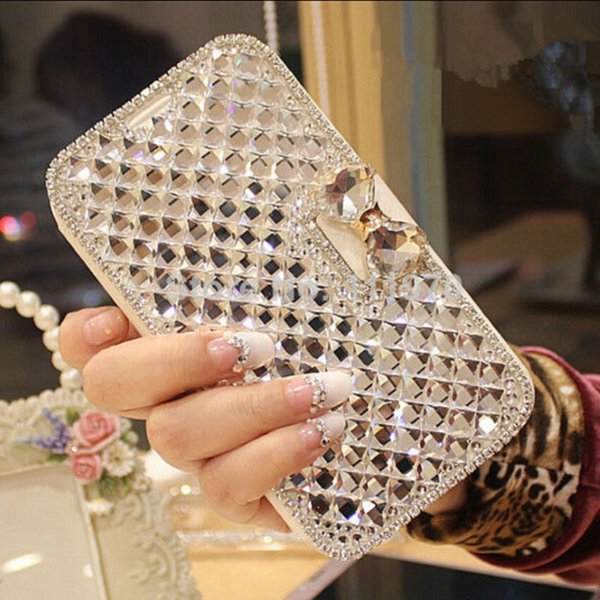 For iPhone Xs Max XR 5 6s 7 8 Plus Bling Diamond Bowknot Shiny Crystal Rhinestone PU Leather Card Slot Flip Cover Case for Girl Woman Lady