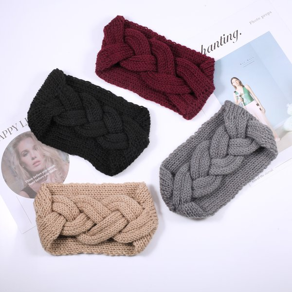 1PCS Winter Women Solid Headbands Warmer Crochet Weaving Hair Band Wide Knit Cross Knot Suede Turban Hair Accessories Wholesale