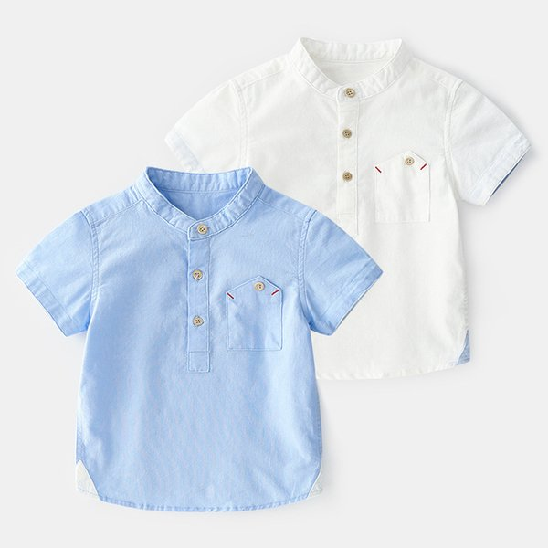 top popular 2019 New Summer Enfant Boys Shirts Standing collar Cotton Solid Children Clothes Short Sleeve Kids Blouses Boy Lapel Shirt 2-6y 2021