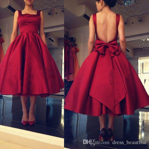 Cheap Tea Length Prom Dresses Spaghetti Backless Burgundy Red Draped Short Women Formal Occasion Party Dress Dress Gowns Custom Made