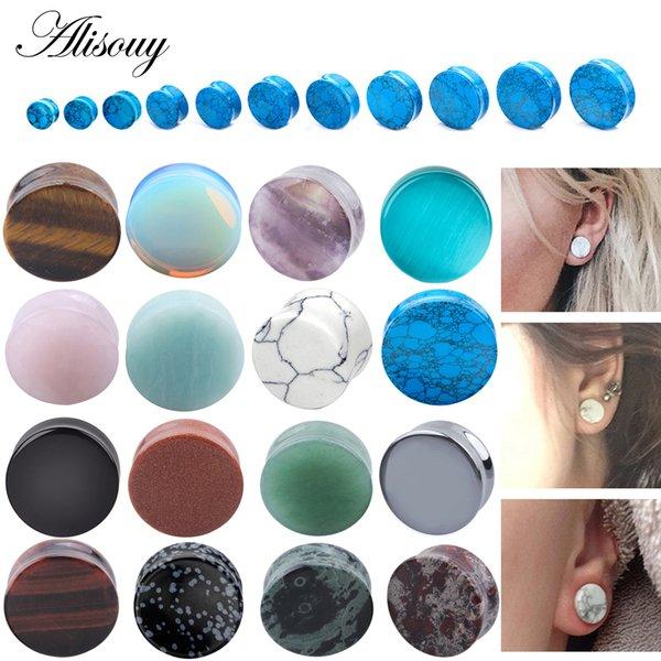 Alisouy 2 unids / lote piedra tapones para los oídos medidores pendientes tapón del oído túnel de carne piercing expansor camilla cuerpo piercing joyería