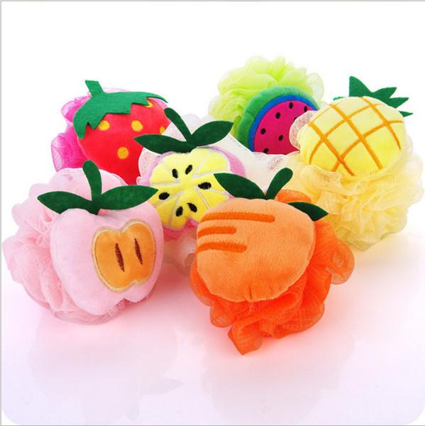 Toptan Çevre Dostu Örgü Banyo Duş Sünger Lif Kabağı Örgü Puf Duş Topu sevimli meyve tasarım banyo fırçaları # 241