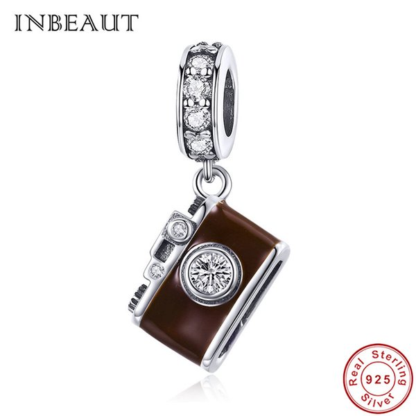 ca3b1845f wholesale Cute Vintage 925 Sterling Silver White Stone Chocolate Camera  Beads Old Antique Photo Shot Charm