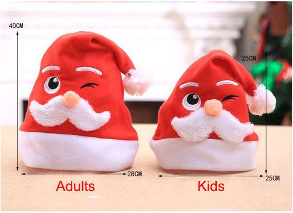 Christmas Santa Hats with Cartoon Santa Pattern for Kids Adults Xmas New Year Festival Supplies Red Santa Hat