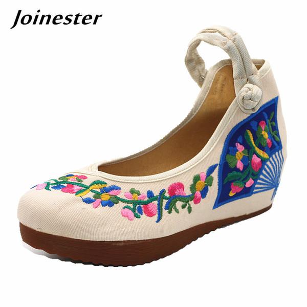 Designer Dress Shoes Vintage Round Toe Floral Emboidered Wedges Women Platform Ladies High Heel Pumps Ankle Strappy Bridal Party Heels