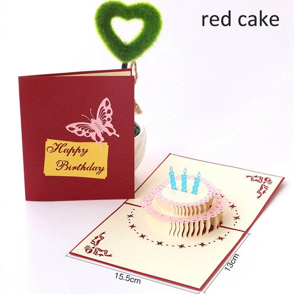 1Pcs DIY Handmade Three-dimensional 3D Greeting Cards Birthday Gift Happy Birthday Postcard Paper Laser Cut Cake Card