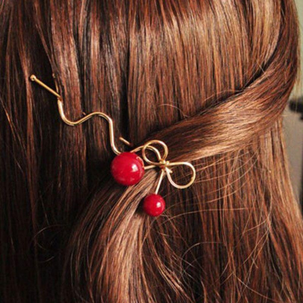 Girls Korean Cute Red Cherry Bowknot Hairpin For Hair Clip Female Hairpin Barrette Hair Accessories for Women Hairgrips