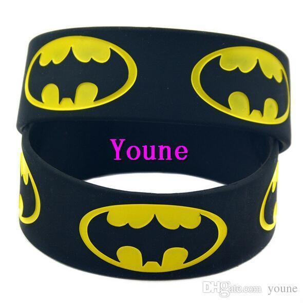 Hot! 50PCS/Lot 1 Wide Band Batman Silicone Wristband, An Alternative Style Bracelet For Animation Fans