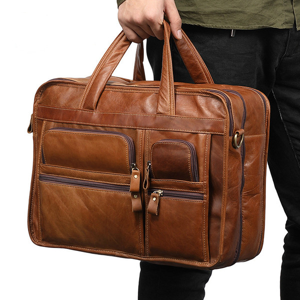 Big Men Briefcase Real Genuine Leather Business Waterproof Handbag Laptop Large Travel Shoulder Crossbody Messenger Bags