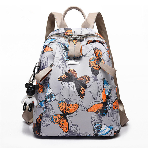 Novas Mulheres Bolsa de Ombro Feminino Pano Coreano À Prova D 'Água Saco de Oxford Lady Lazer Impressão borboleta Mochila Escolar Adolescentes