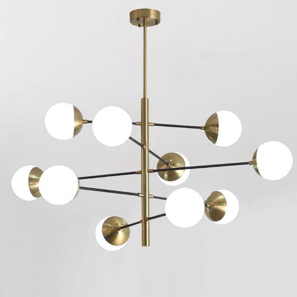 8/10/12 Heads Postmodern Loft Molecular Pendant Light Art Designer creativo sfera di vetro Villa Hotel Hall Led appendere le luci