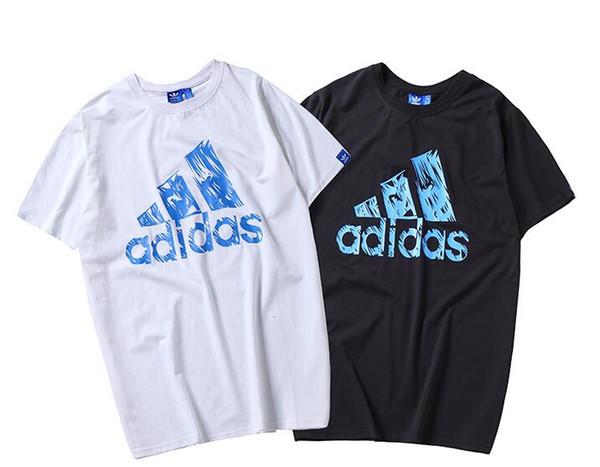 Verano nuevos hombres y mujeres de manga corta camiseta casual Tendencia de moda camiseta de manga corta Clásico Simple carta azul diseño de impresión camiseta