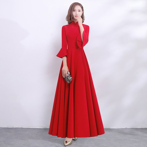 Full Length Chinese Long Sleeve Female Cheongsam Dress Vestidos Chinos Oriental Wedding Gowns Party Dresses Plus Size XS-3XL
