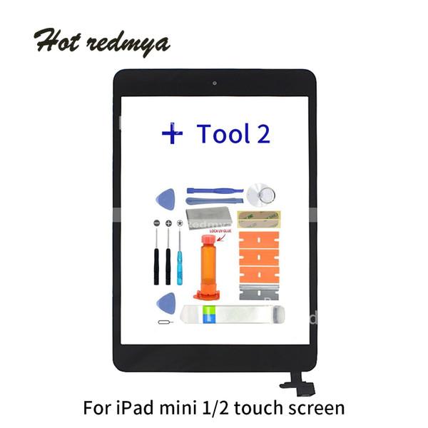 Para ipad mini 2 digitador do toque frontal Para ipad mini 1 tela de vidro frontal painel de montagem de peças de reposição com botão home ferramenta gratuita
