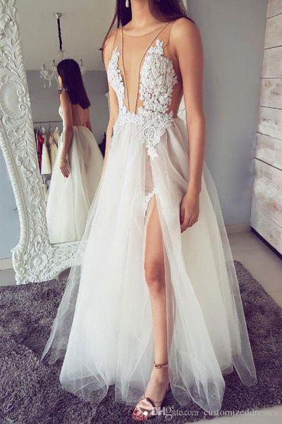 2019 Sexy Durchsichtig Abendkleid Eine Linie Spitze Appliques Side Split Tüll Backless Abendkleid Nach Maß Plus Größe