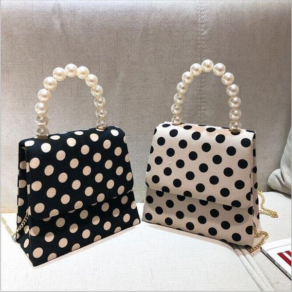 New Designer Pearl Wave Point Small Square Packing Popular Chain Hand-held Bill Cross Shoulder Slant Bag